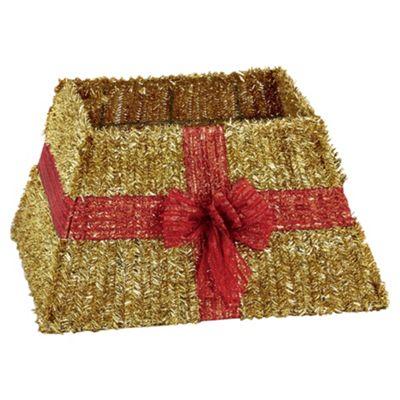 Gold Tinsel Christmas Tree Skirt