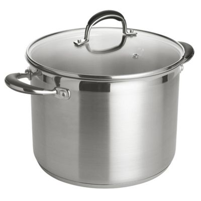 Go Cook 24 cm Large Stockpot with glass Lid, Stainless Steel