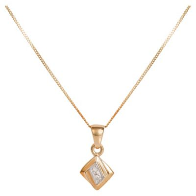 9ct Gold Diamond Square Pendant