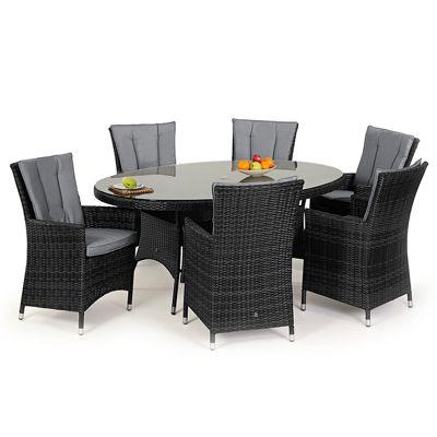 Maze Rattan - LA 6 Seat Dining Set - 1.8m x 1.2 Oval - Grey