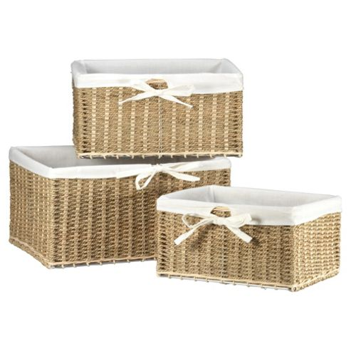 Tesco Seagrass Fabric Lined Baskets, Set of 3