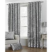 "Verona Crushed Velvet - Silver - Eyelet Curtains - 66x90""/168x229cm"