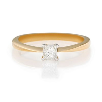 18ct Gold 1/4ct Princess Cut Ring, L