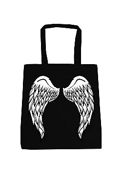 Angel Wings Black Tote Bag