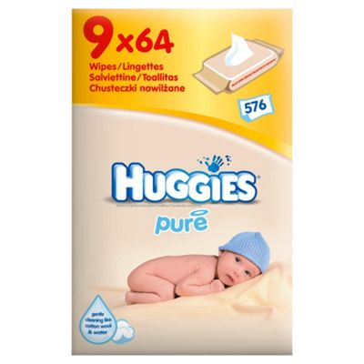 Huggies Pure Wipes 9 pack (9x64)