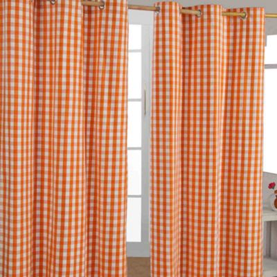 Homescapes Cotton Orange Block Check Ready Made Eyelet Curtains, 117 x 137 cm