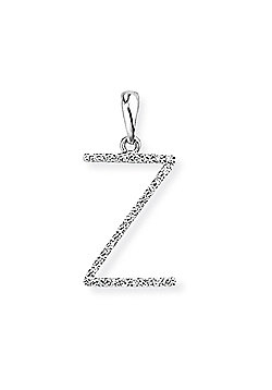 Jewelco London 18ct White Gold - Diamond - Z' Initial Charm Pendant -