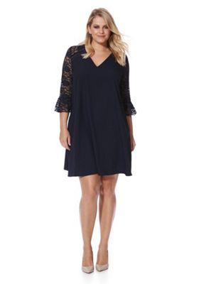 Lovedrobe Lace Yoke Bell Sleeve Swing Plus Size Dress 16 Navy