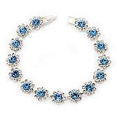 Light Blue /Clear Swarovski Crystal Floral Bracelet In Rhodium Plated Metal - 17cm Length