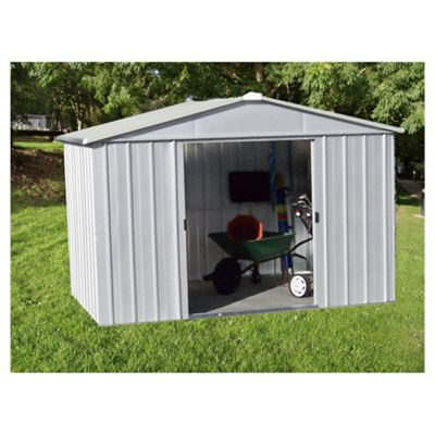 Yardmaster 9'4x12'8 Silver Metal Apex Shed