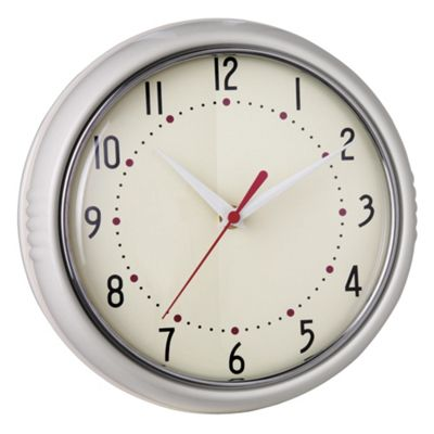 Tesco Clocks Retro Clock, Cream