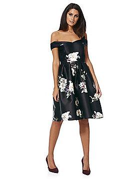 Mela London Floral Fit and Flare Dress - Black