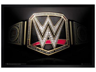 WWE Black Wooden Framed Title Belt Poster 61x91.5cm