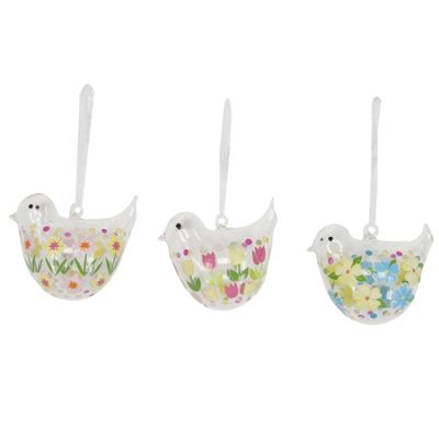 Set of Three Floral Glass Bird Easter Decorations