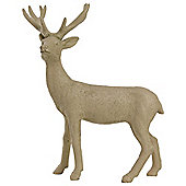 21cm Nude/Beige Polyresin Standing Stag Christmas Ornament