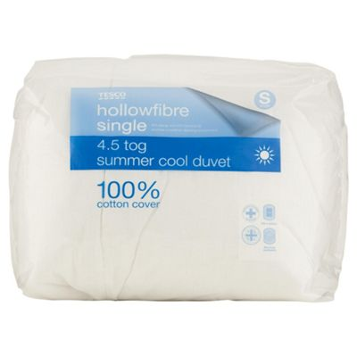 Tesco Standard Cotton Cover 4.5 Tog Duvet Single