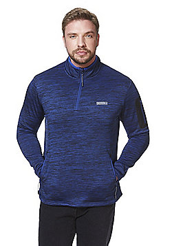 Jacamo Space Dye Half Zip Fleece - Blue/Black