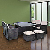 Outsunny 11pc Rattan Garden Furniture Cube Dining Set Brown