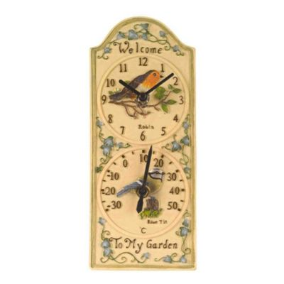 Outside In Birdberry Wall Clock and Thermometer 12in