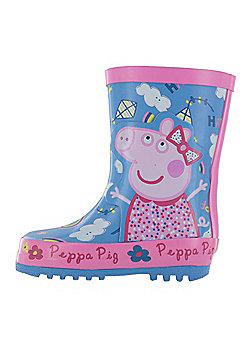 Girls Peppa Pig Kensey Wellies Blue Wellington Boots UK Sizes 4 -10 - Blue