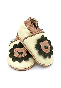 Dotty Fish Soft Leather Baby Shoe - Cream and Brown Lion - Cream