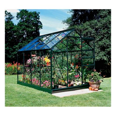 Halls Popular 6x8 Greenframe Greenhouse + Green Base-frame - Toughened Glass