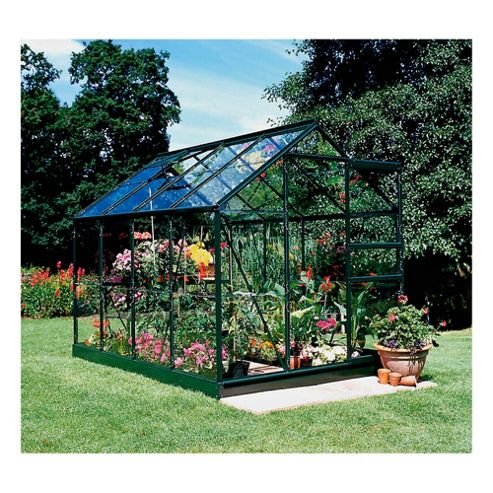 Halls Forest Popular 8ft x 6ft Greenhouse & Base, Green