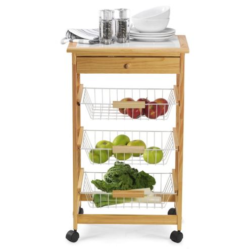 Pine Kitchen Trolley with Tile Top