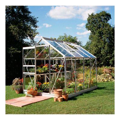 Halls 6x8 Popular Aluminium Greenhouse + Base-frame - Toughened Glass