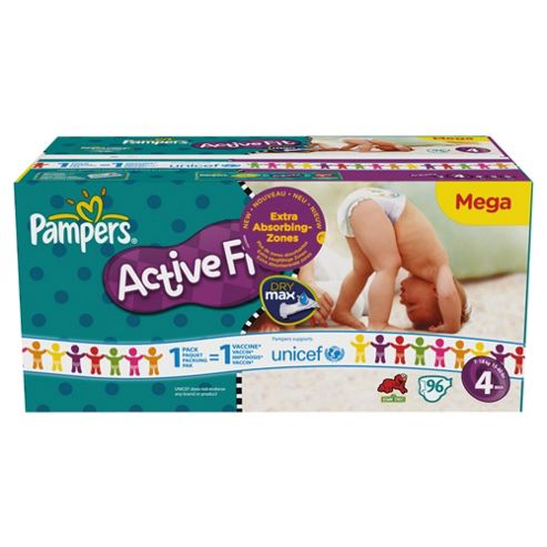 Pampers Active Fit Mega Pack Maxi- 96 nappies