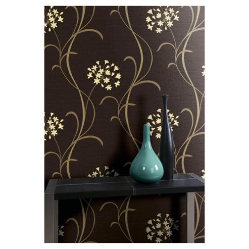 Arthouse Mia Motif Chocolate & Cream Wallpaper