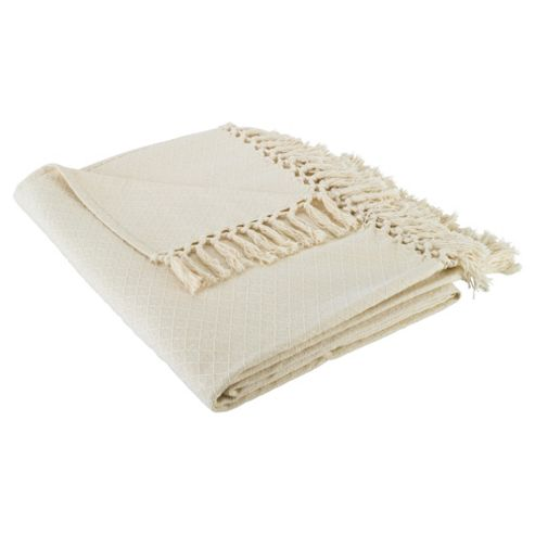 F&F Home Diamond Cotton Throw - Natural