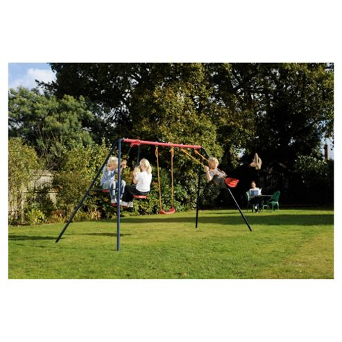 Tesco Double Swing Set With Glider