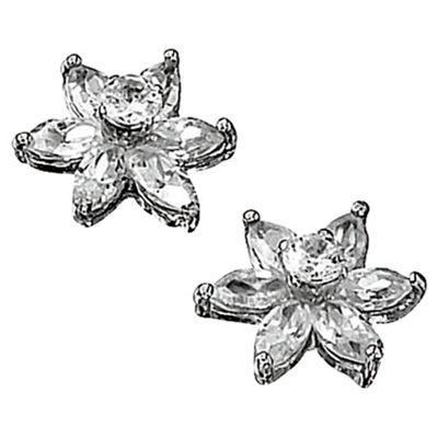 9ct White Gold Cubic Zirconia Flower Stud Earrings