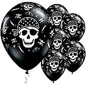 Pirate Skull & Cross Bones 11 inch Latex Balloons - 25 Pack