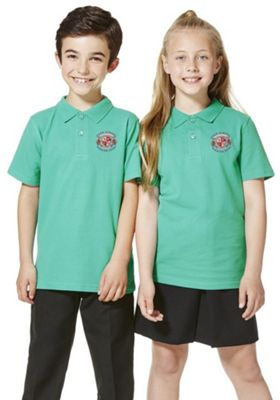 Unisex Embroidered School Polo Shirt 10-11 years Green