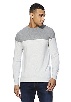 F&F Colour Block Crew Neck Jumper - Grey