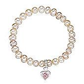 Jo for Girls Freshwater Pearl Pink CZ Heart Bracelet