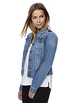 Only Embroidered Denim Jacket - Mid wash