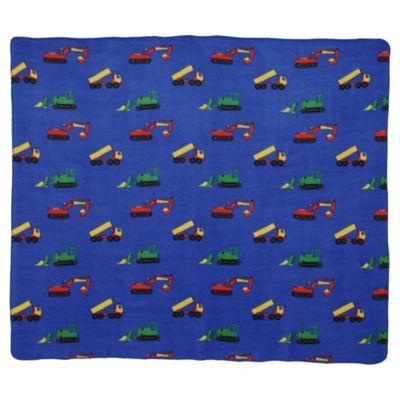 Tesco Kids Trucks And Diggers Fleece Blanket, Blue