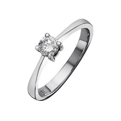 9ct White Gold 50Pt Diamond Solitaire Ring, P