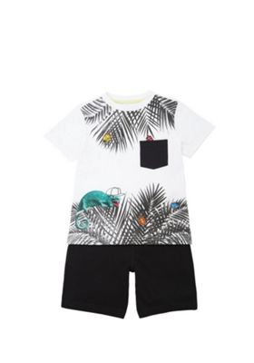 F&F Insect Leaf Print T-Shirt and Shorts Set White/Black 12-18 months