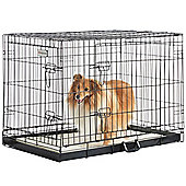 "Milo & Misty 36"" Folding 2 Door Black Puppy & Dog Pet Crate Cage with Plastic Tray"