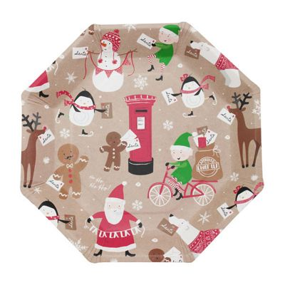 Santa and Friends Paper Plates - 23cm - 8 Pack