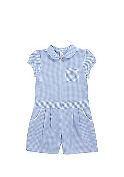 F&F School Easy Iron Gingham Playsuit - Blue/White