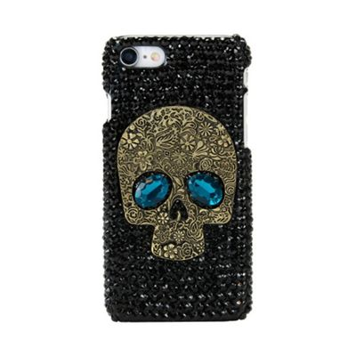 iPhone 8 Black Diamonte Gems Protective Case With A Large Skull Face - Black