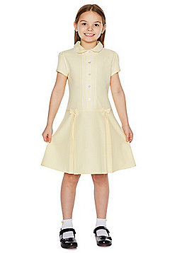 F&F School Girls Easy Care Gingham Dress with Scrunchie - Yellow