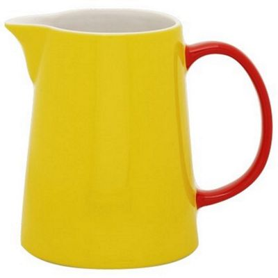 Jansen Mix and Match Ceramic Large Jug in Yellow with Red Handle JC1162