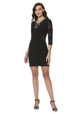 Mela London Embellished Neck Bodycon Dress 8 Black