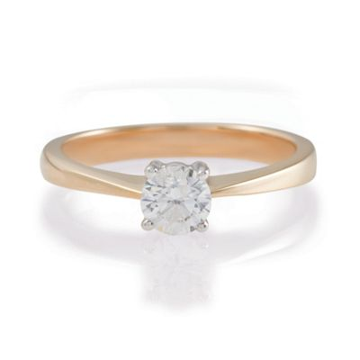 9ct Gold 1/2ct Diamond Solitaire Ring, N